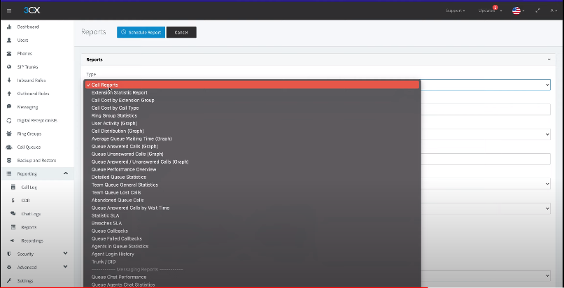 Report types available in 3cx management console - telecloud